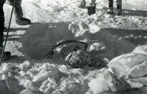 View of one of the bodies discovered by the Soviet authorities. Found buried in the snow, face down.