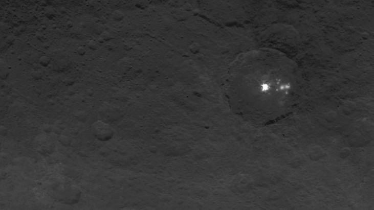 A Cluster of Mysterious Bright Spots on Dwarf Planet Ceres