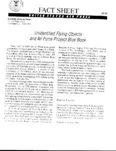 "UFO ""Fact Sheet"" commonly given out to UFO FOIA requesters - and received by John Greenewald asking for information on Project Tobacco."