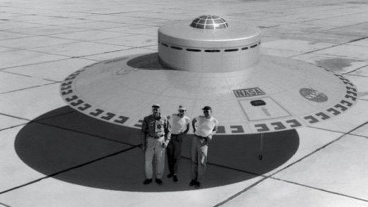 NASA Dryden Photo Depicts Personnel Standing with Flying Saucer / UFO