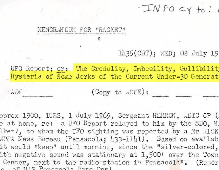 From the Desks of Project Blue Book: Pensacola, Florida Case File – 1 July 1969