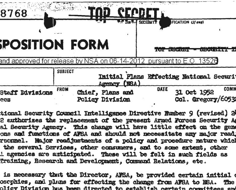 Oldest Record on File at the National Security Agency (NSA)