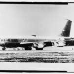 Photographic copy of photograph, n.d. (original photograph in 55th Wing Historian files, Offutt AFB, Bellevue, Nebraska). Looking glass aircraft on runway. - Offutt Air Force Base, Looking Glass Airborne Command Post, Looking Glass Aircraft, On Operational Apron covering northeast half of Project Looking Glass Historic District, Bellevue, Sarpy County, NE Photos from Survey HAER NE-9-B