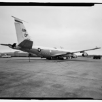 General view showing rear of looking glass aircraft. View to north. - Offutt Air Force Base, Looking Glass Airborne Command Post, Looking Glass Aircraft, On Operational Apron covering northeast half of Project Looking Glass Historic District, Bellevue, Sarpy County, NE Photos from Survey HAER NE-9-B