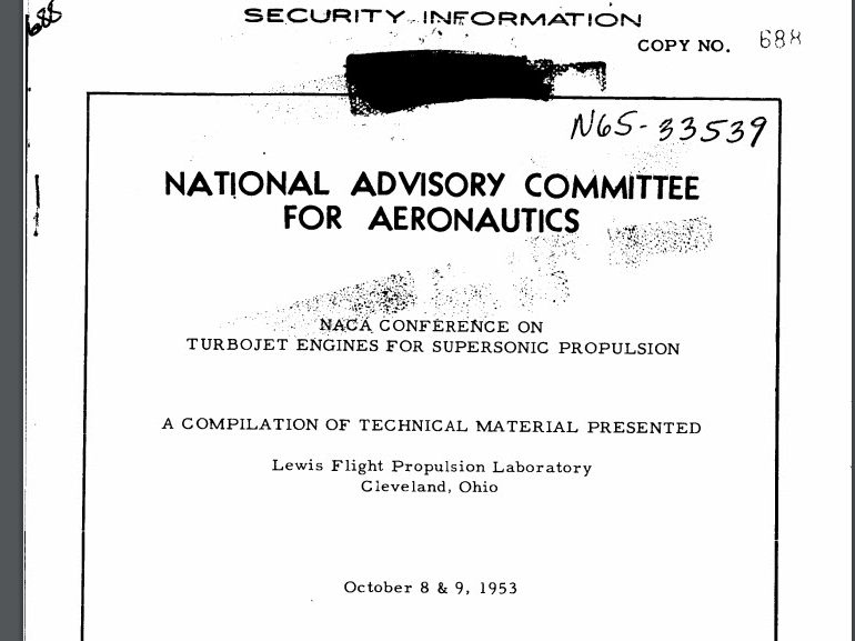 NACA Conference on Turbojet Engines for Supersonic Propulsion, October 8-9, 1953