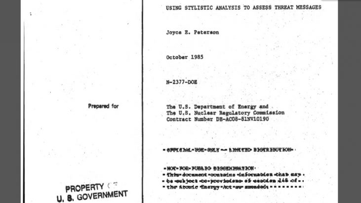 Using Stylistic Analysis to Assess Threat Messages, October 1985