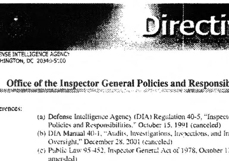 Defense Intelligence Agency (DIA) Directive 5100.200, 17 February 2006 – Office of the Inspector General Policies and Responsibilities