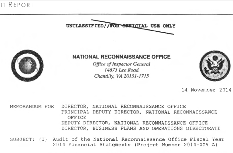 Office of Inspector General Audit of the National Reconnaissance Office Fiscal Year 2014 Financial Statements