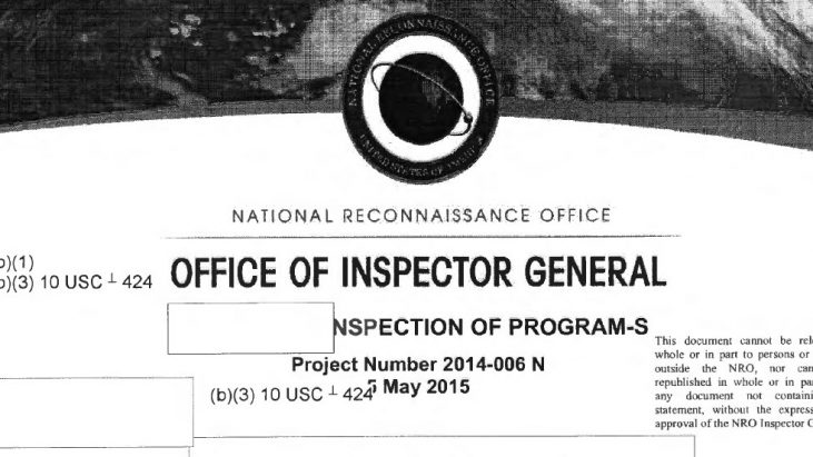 NRO Investigation: Inspection of Program-S, May 5, 2015