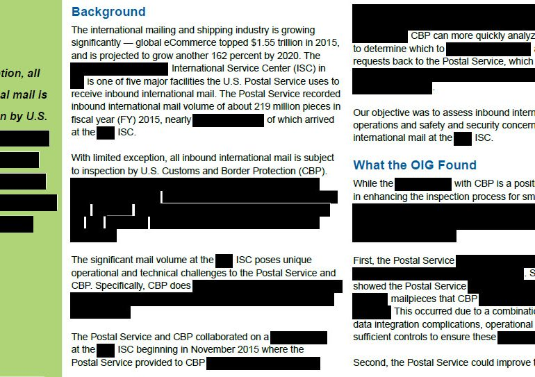 Inbound International Mail Operations – [REDACTED] Service Center Audit Report, December 30, 2016