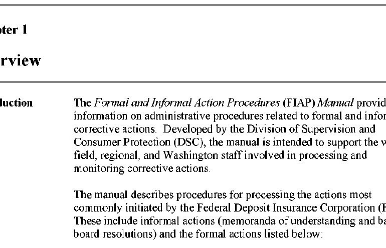 DSC Formal and Informal Action Procedures (FlAP) Manual, FDIC