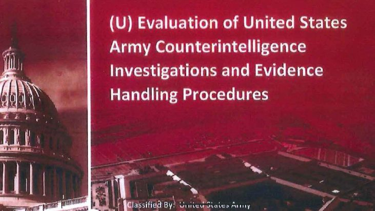 Evaluation of United States Army Counterintelligence Investigations and Evidence Handling Procedures, July 13, 2016