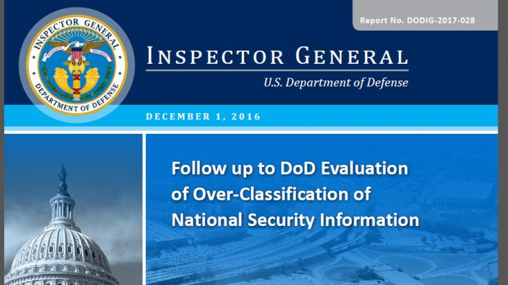 Follow up to DoD Evaluation of Over-Classification of National Security Information, December 1, 2016