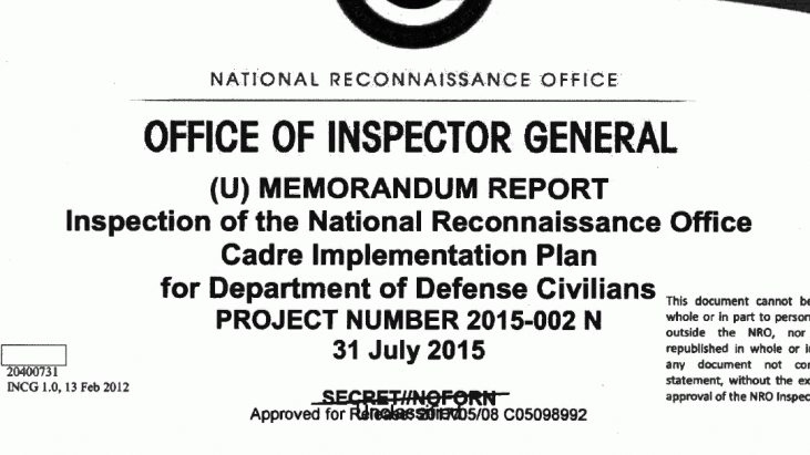 Inspection of the National Reconnaissance Office Cadre Implementation Plan for Department of Defense Civilians, July 31, 2015