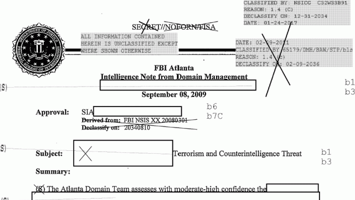 FBI Atlanta Intelligence Note from Domain Management: Terrorism and Counterintelligence Threat, September 8, 2009