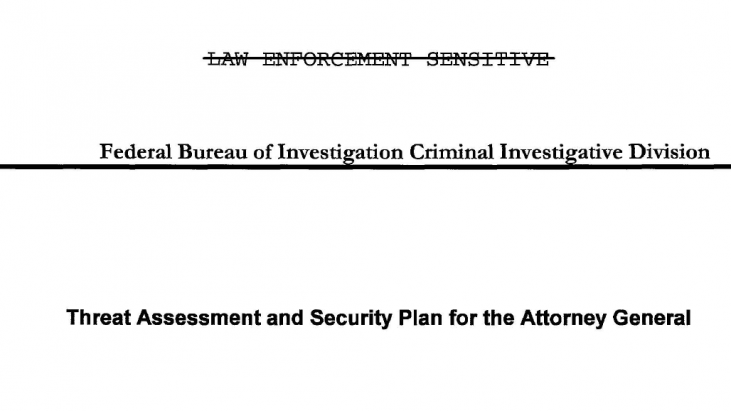 Threat Assessment and Security Plan for the Attorney General, Undated circa early 2001