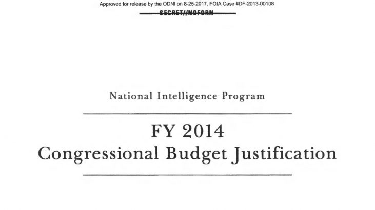 National Intelligence Program, FY 2014 Congressional Budget Justification, April 2013