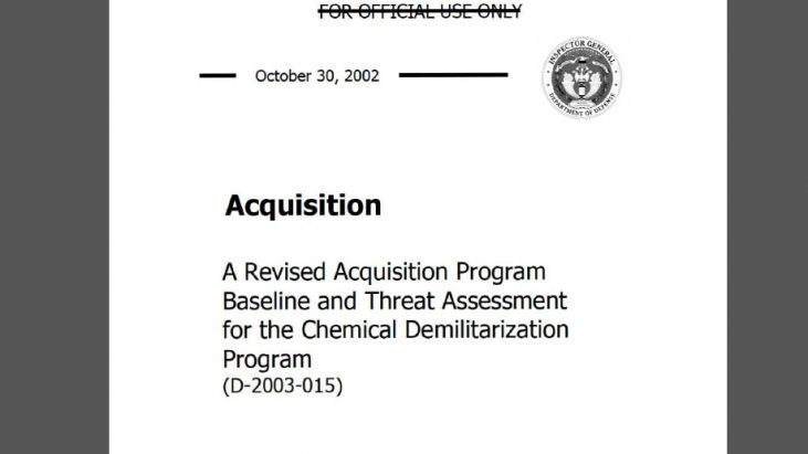 A Revised Acquisition Program Baseline and Threat Assessment for the Chemical Demilitarization Program, October 2002