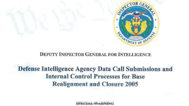 Defense Intelligence Agency Data Call Submissions and Internal Control Processes for Base Realignment and Closure 2005, May 13, 2005
