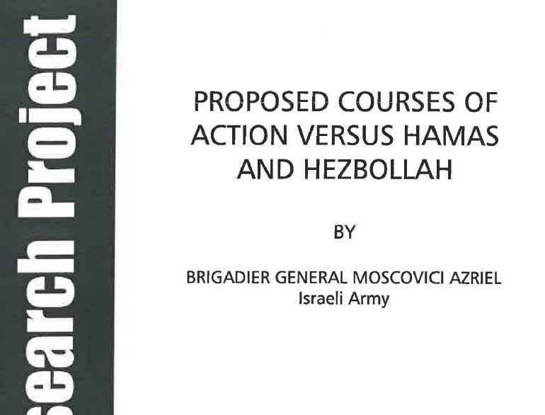 Proposed Courses of Action Versus Hamas and Hezbollah, January 2, 2011