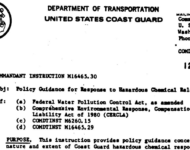 Policy Guidance for Response to Hazardous Chemical Releases, 12 March 1984