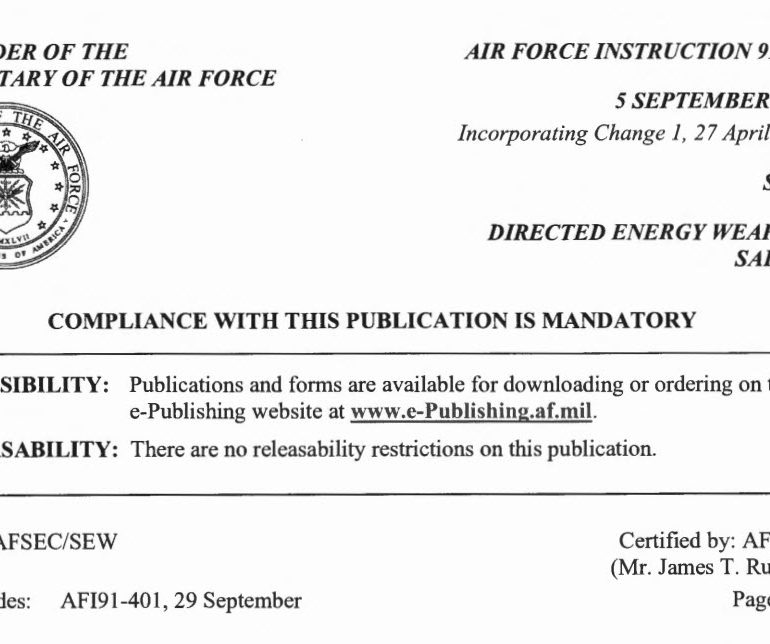 Air Force Instruction 91-401 – Directed Energy Weapons Safety – 27 April 2016