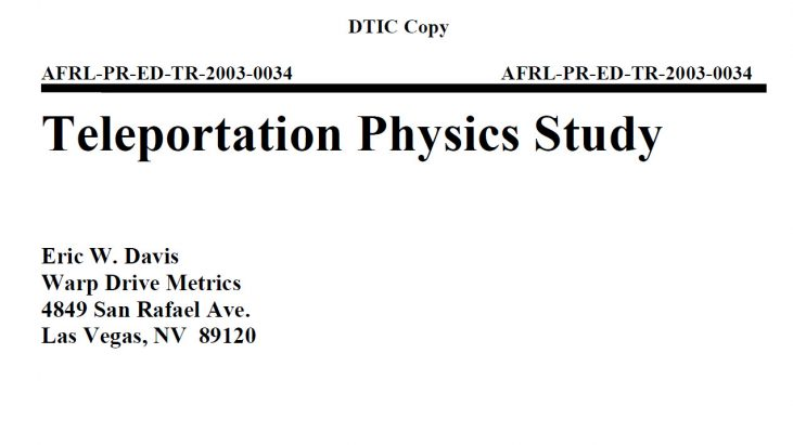 Teleportation Physics Study, Air Force Research Laboratory, August 2004 by Dr. Eric W. Davis