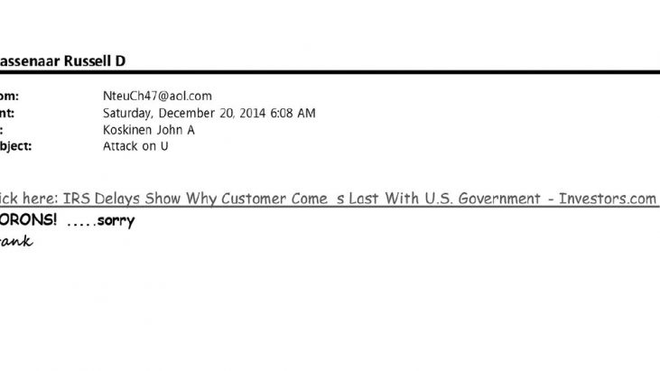 IRS Commissioner John Koskinen E-Mails Containing The Keyword: MORON