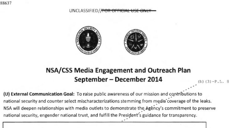 NSA/CSS Media Engagement and Outreach Plan: September – December 2014