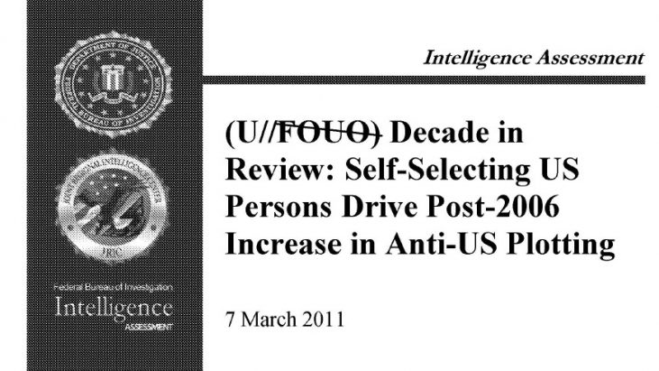 """Intelligence Assessment: """"Decade in Review: Self-Selecting US Persons Drive Post-2006 Increase in Anti-US Plotting"""" – 7 March 2011"""