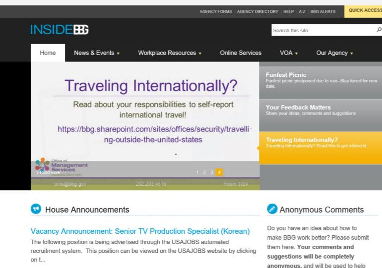 Broadcasting Board of Governors (BBG) Intranet Website