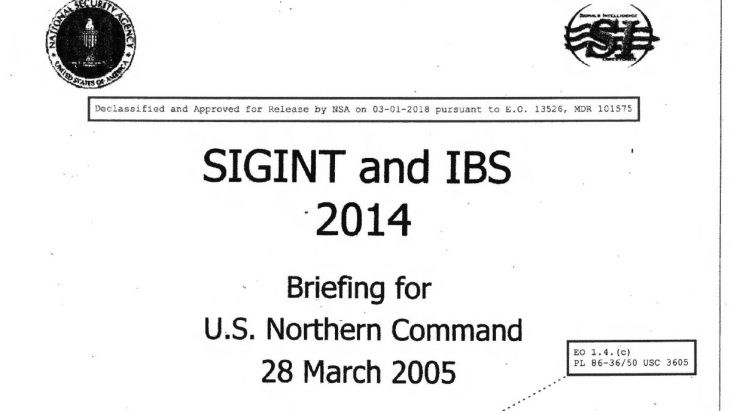 SIGINT and IBS 2014 Briefing for U.S. Northern Command