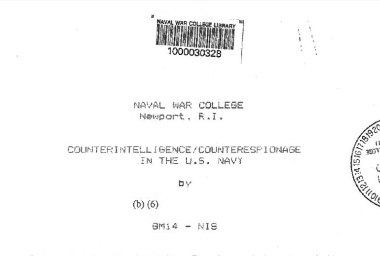 Counterintelligence / Counterespionage In The U.S. Navy, 14 May 1990