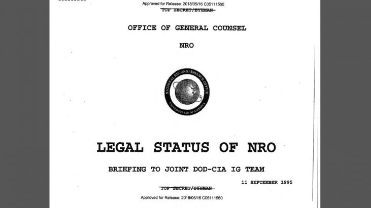 Legal Status of NRO – Briefing to Joint DOD-CIA IG Team, 11 September 1995