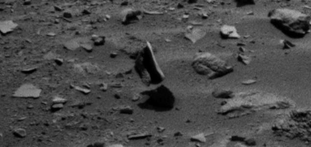 Levitating Rock on the Surface of Mars? Captured in 2 Angles