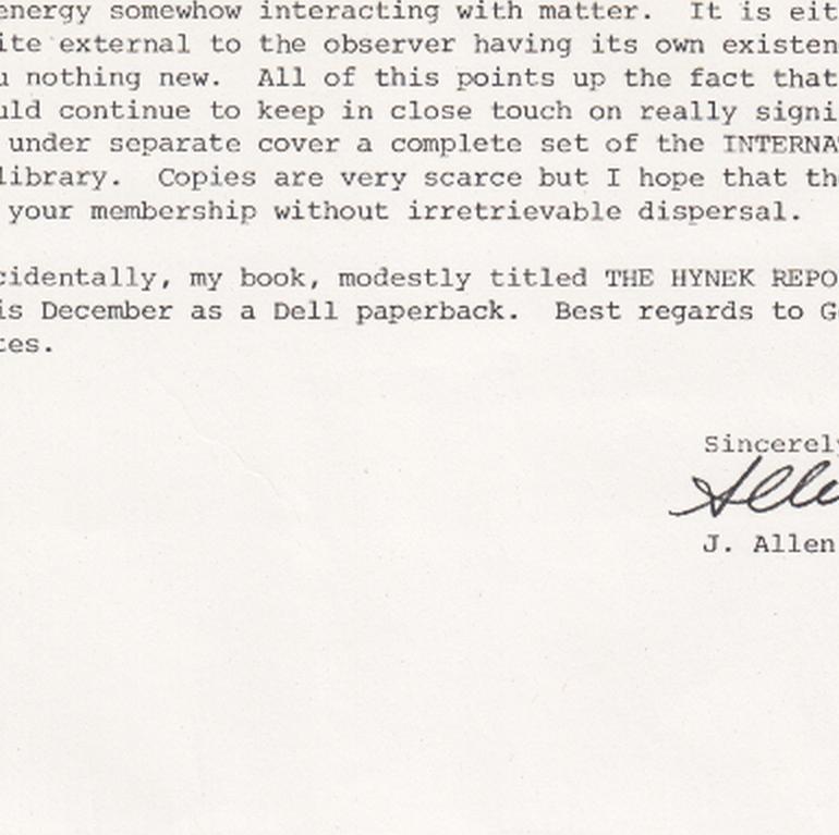 J. Allen Hynek Writes Letter About Infamous Ghost Experiment