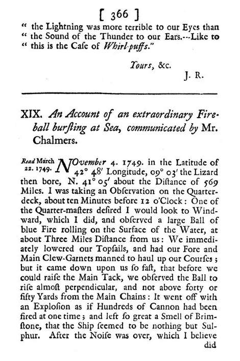 Account of an Extraordinary Fireball Bursting at Sea (1749)
