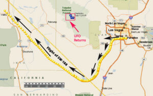 "Plot of Flight of Aircraft & Unknown ""UFO"" Radar Returns to East of Pahrump, Nevada. (Arrows Indicate Airliner Movement & UFO Movement.)"