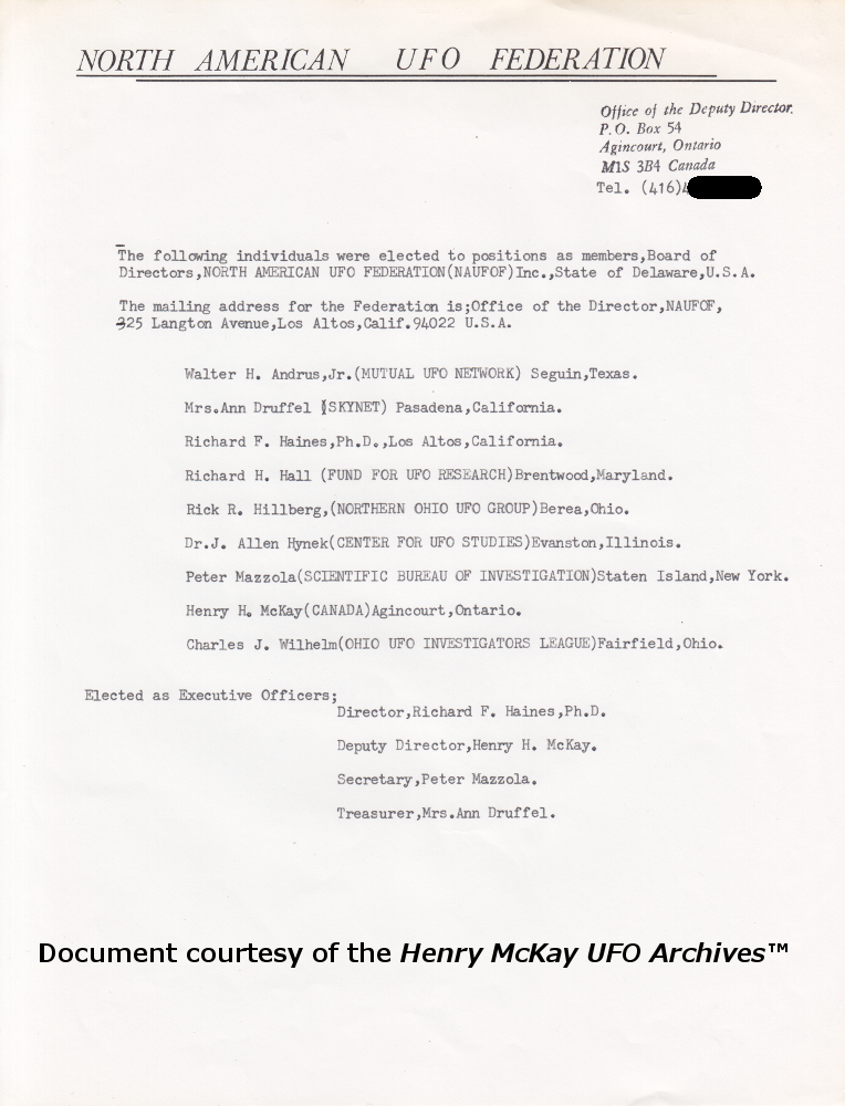 The Henry McKay UFO Archives: North American UFO Federation