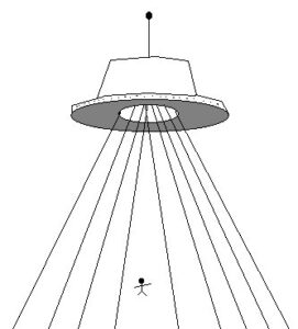 Drawing of Flying Saucer & Being by Witness