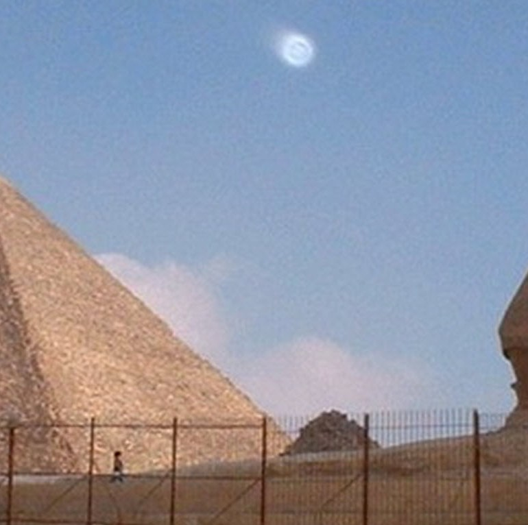 Orb Photographed over the Pyramids at Giza, Egypt
