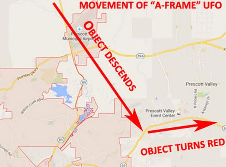 "Man Sees ""A-Frame"" UFO Fly South & Make Sharp Turn"