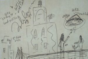 Saucer: The drawing seems to detail New York alien encounter