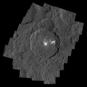 Occator Crater, measuring 57 miles (92 kilometers) across and 2.5 miles (4 kilometers) deep, contains the brightest area on Ceres. Credits: NASA/JPL-Caltech/UCLA/MPS/DLR/IDA/PSI