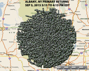 FIGURE THREE – MAP OF ALL PRIMARY RADAR RETURNS ALBANY, NY 9/5/2015.