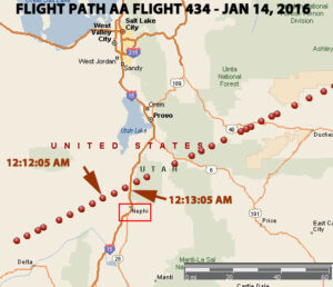 RADAR FLIGHT PATH OF AA FLIGHT 434 OVER UTAH JUST AFTER MIDNIGHT ON JAN 14, 2016.