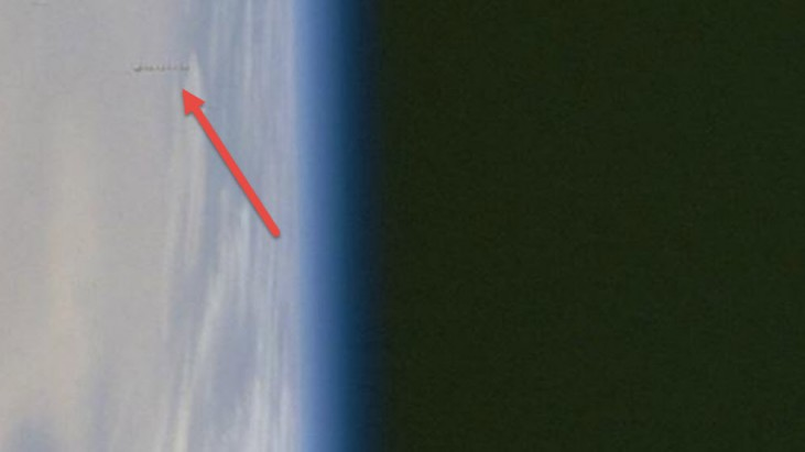 Unexplained Formation of Objects on NASA Photograph from Space Shuttle STS-100