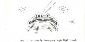 Witness' sketch of the UFO sighting.