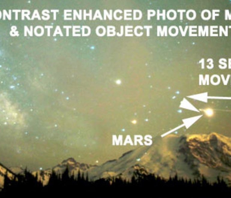 Time Lapse Photo Reveals Unknown Object Over Mt. Rainier.
