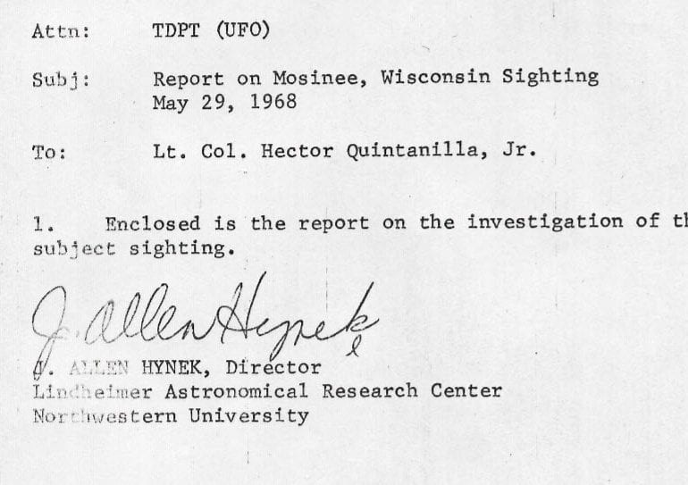 From the Desks of Project Blue Book: Mosinee, Wisconsin, 29 May 1968